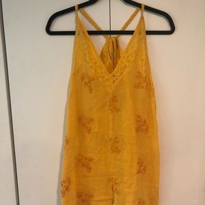 Free People Embroidered Yellow Romper